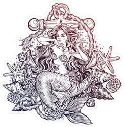 Mermaid with Anchor and Seashells Sticker