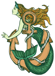 Mermaid With Anchor Color Tattoo Sticker
