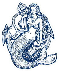 Mermaid With Anchor In Blue Sticker