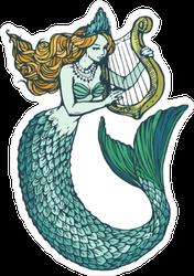 Mermaid With Harp Sticker