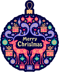 Merry Christmas Elements in Ornament Sticker