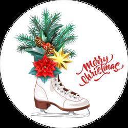 Merry Christmas Ice Skates Sticker