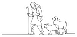 Merry Christmas Shepherd And Sheeps Sticker