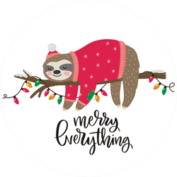 Merry Everything Cute Winter Sloth Sticker