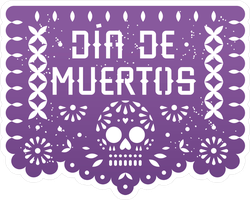 Mexican Day Of The Dead  Paper Cut Banner Sticker