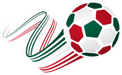Mexican Soccer Ball With National Colors Sticker