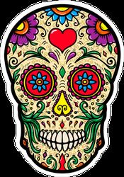 Mexican Sugar Skull Heart Sticker