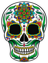 Mexican Sugar Skull With Colorful Floral Pattern Sticker