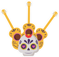 Mexican Sugar Skull with Guitars Sticker