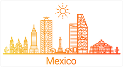 Mexico City Gradient Line Art Sticker