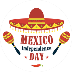 Mexico Independence Day Circle Sticker