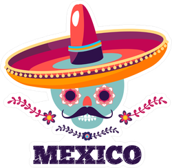 Mexico Skull And Flowers Sticker