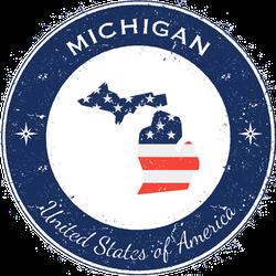 Michigan Patriotic Badge Sticker