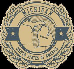 Michigan Rubber Stamp Sticker