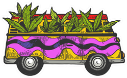Minibus Van With Cannabis Leaves Coming From The Windows Sticker