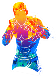 Mixed Martial Art Boxing Paint Splash Sticker