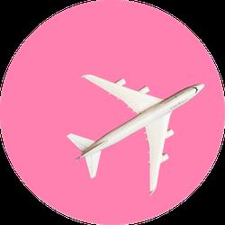 Model Plane, Airplane On Pink Pastel Sticker