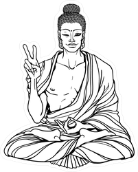 Modern Buddha Showing Peace Sign Sticker