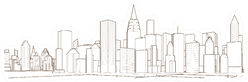 Modern City Panorama 3d Illustration Sticker