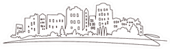 Modern Cityscape Skyline Continuous One Line Drawing Sticker