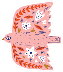 Modern Folk Tribal Boho Patterned Pink Bird Sticker