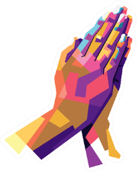 Modern Pop Art Illustration Of Praying Hands Sticker