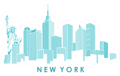 Modern Silhouette Of The New York City Skyline Turquoise Sticker