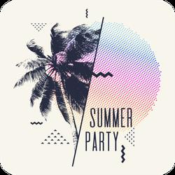 Modern Summer Party Geometric Sticker
