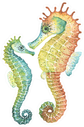 Mom And Baby Seahorses, Watercolor Sticker