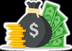 Money Bag Dollars and Coins Illustration Sticker