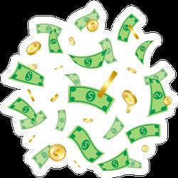 Money Falling Sticker