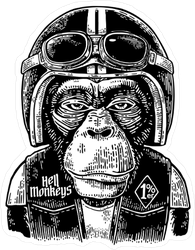 Monkey Biker Sticker