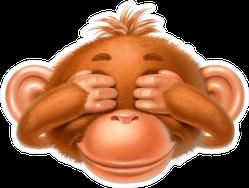 Monkey Covering Eyes Sticker