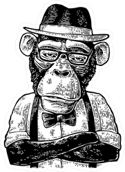 Monkey Hipster Sticker