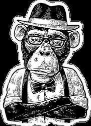 Monkey Hipster Sticker