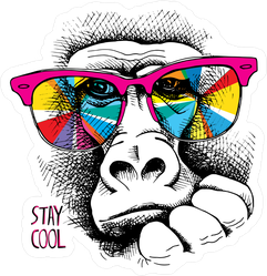 Monkey In Rainbow Color Glasses Sticker