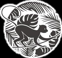 Monkey In Tropical Jungle Sticker