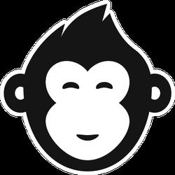 EW Designs Cool Black and White Gorilla Monkey Soldier Cartoon Vinyl Decal Bumper Sticker 4 Tall
