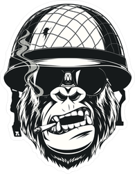 Monkey Soldier With A Cigarette Sticker