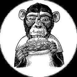 Monkey Wearing A T-shirt Eating A Hamburger Sticker