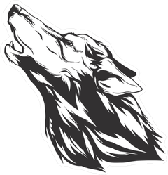 Monochromatic Howling Wolf Sticker
