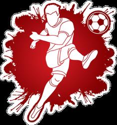 Monochromatic Paint Splatter Soccer Player Sticker