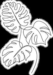 Monstera Leaf Line Art Sticker