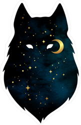 Moon and Stars Wolf Silhouette Sticker