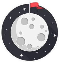 Moon With Flag And Stars Flat Design Sticker
