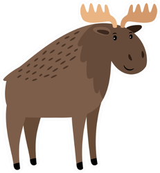 Moose Illustration Sticker