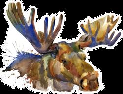 Moose Watercolor Illustration Sticker
