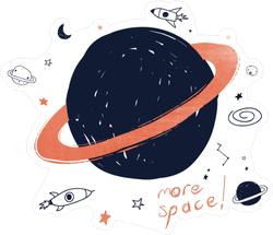 More Space Cartoon Drawing Sticker