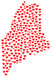 Mosaic Heart Map Of Maine Sticker