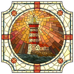 Mosaic With Large Cells Of Lighthouse Sticker
